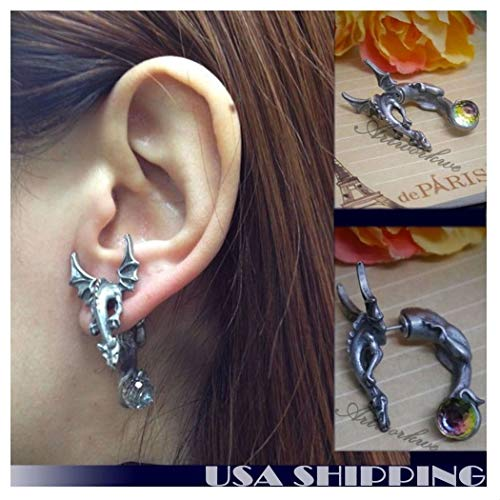 - 3D Dragon with wings Puncture Ear Stud Womens Mens Unisex Earring One Piece