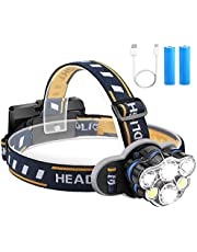 Head Torch,Qooner 12000 Lumen Ultra Bright 6 LED Lamps Headlight with USB Rechargeable Batteries, 8 Modes Waterproof Head Lamp for Cycling Camping Fishing Hiking Jogging