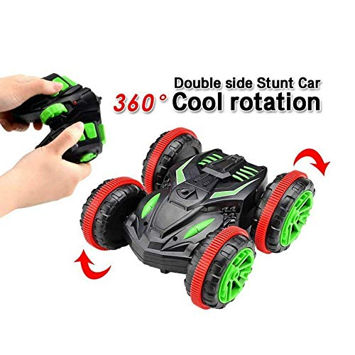 OOFAY Auto Stunt 4WD Auto Fernbedienung 2,4 Ghz Land & Wasser 2 in 1 Amphibious Tank Doppelseitige 360 ° Spins Elektro Racing Fahrzeugflips Toys for Boys Girls,Grün