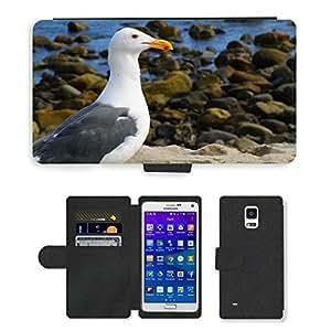 PU LEATHER case coque housse smartphone Flip bag Cover protection // M00130985 Gaviota Playa de arena Bird Fly Alas // Samsung Galaxy Note 4 IV
