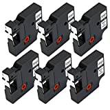 JetSir Compatible DYMO D1 45013 Label Tape,6 Pack Black on White, Work for DYMO LabelManager 160 280 360D 210D 220P 450 420P PnP Wireless Label Maker,12mm x 7m, 1/2'' x 23'2mm x 7m, 1/2'' x 23'