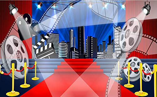 MengGeGe 8x5ft Hollywood Movie Theme Photography Backdrops Dress-up Movie Night Red Carpet Themed Party Photo Background