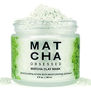 Matcha Obsessed - All Natural Organic Matcha Green Tea Clay Facial Mask with Honey, Coconut, Echinacea, 2 oz./50 ml