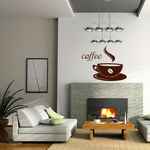 Wall Decal Decor Decals Art Coffee Cup Mug Cafe Morning Inscription Kitchen Lounge Design Mural (M962) (Kitchen Designs Lounge)