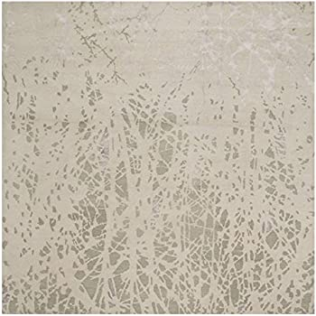 Kathy Kuo Home Malo Modern Grey Twig Silk Wool Rug - Sample
