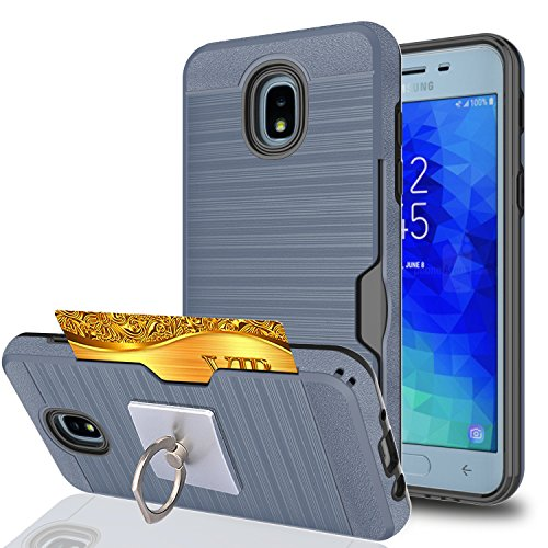 Galaxy J3 2018/J3 Eclipse 2/J3 Orbit/J3 Achieve/Express Prime 3/J3 Prime 2/Amp Prime 3 Case With Phone Stand,Ymhxcy Dual Layer Shockproof Protective Cover For Samsung J3 Emerge 2018-LCK Metal Slate