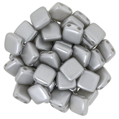 Czechmate 6mm Square Glass Czech 2-Hole Tile Beads - Silver Pearl (25)