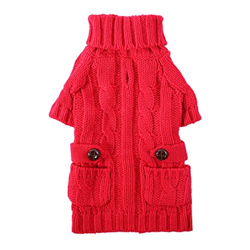 Cheap PETCEE Large Breed Dog Sweater,Turtleneck Dog Sweater Dog Knit Festival Sweater Back Lenght 24″(Classic Red)