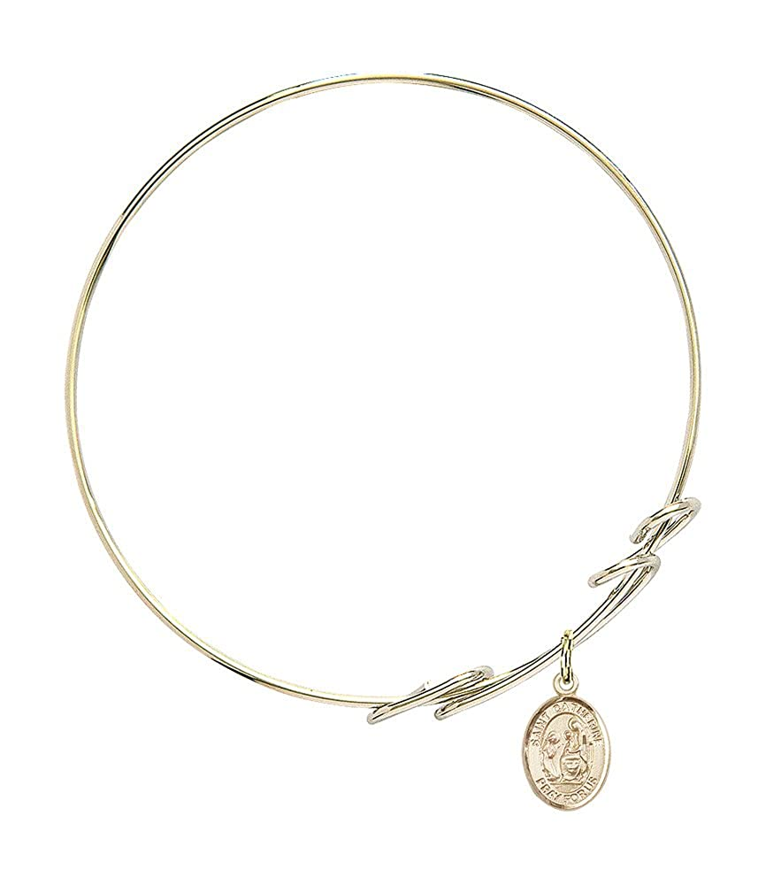 Bonyak Jewelry Round Double Loop Bangle Bracelet w//St Catherine of Siena in Gold-Filled