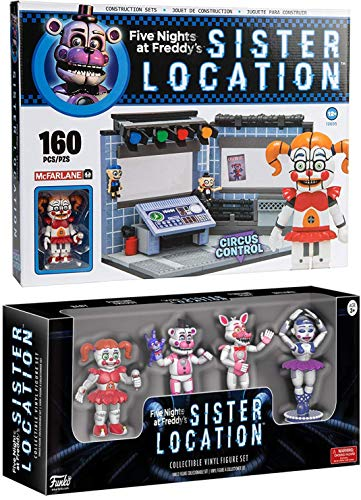 Control Room Sister Location Circus Pack FNoF Sister Nightmare Five Nights at Freddy's Funtime Buildable set + Game Characters Mini Collectible Vinyl Bundle Baby / Freddy / Funtime Foxy / Ballora by AYB Products