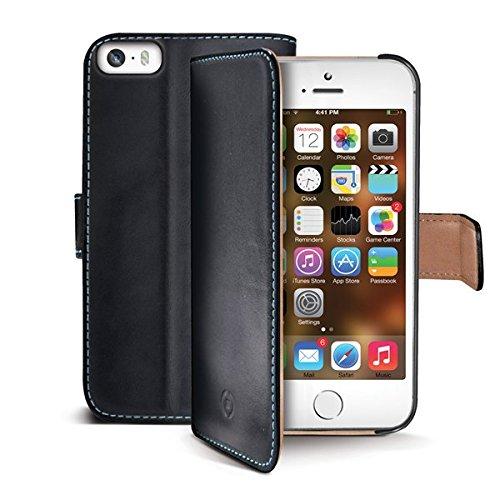 Celly Pelle Étui portefeuille pour iPhone 5S en cuir–Noir