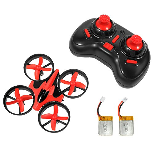 NIHUI-Mini-Quadcopter-Drone-RTF-Helicopter-UFO-Drone-with-GYRO-24G-4CH-6-Axis-AR-Drone-Flying-RC-Copter-with-LED-Lights-Remote-Control-and-Wind-Propeller-Red-2-Battery