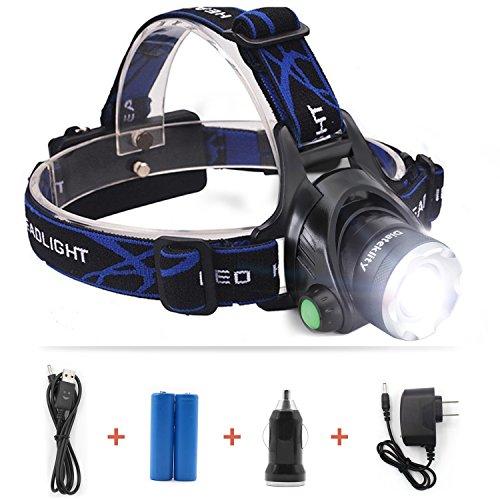 Diateklity Super Bright LED Headlamp Headlight Flashlight with Zoomable 3 Modes, XM-L CREE T6 LED 1000 Lumens,