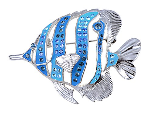 Alilang Silvery Tone Blue Enamel Tropical Ocean Hollow Angelfish Nautical Animal Fish Brooch Pin