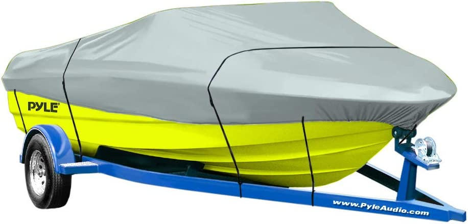 Protective Storage Boat Cover Waterproof Mildew and Weather Resistant with UV Sun Damage Protection Marine Grade Canvas for 14-16L Beam Width to 90 V-Hull Runabout and Outboard CA-PCVTB221