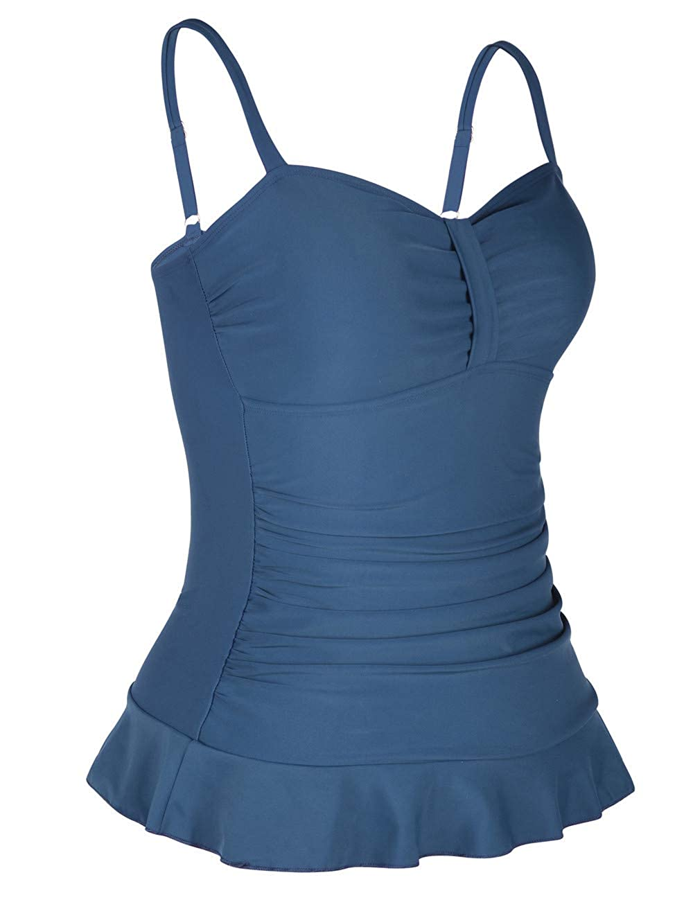 e62d8071679 Hilor Women's 50's Retro Ruched Tankini Swimsuit Top with Ruffle Hem
