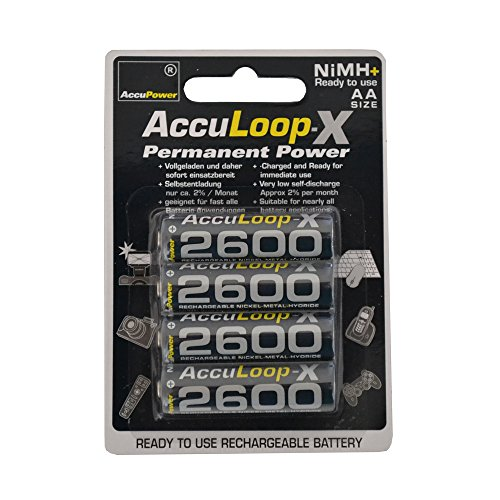 AccuPower AA NiMH AccuLoop 2600 mAh Rechargeable Batteries Precharged AL2600-4