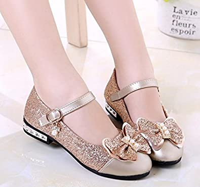 Otamise Girls Mary Jane Wedding Party Shoes Glitter Bridesmaids Low Heels Princess Dress Shoes