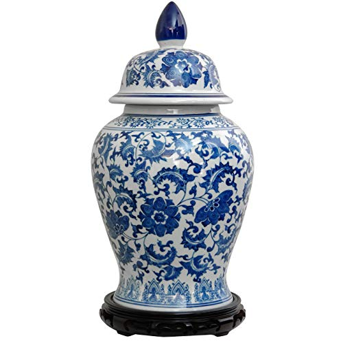 MISC White Temple Jar Fine China Storage Blue Floral Design Chinoiserie Vase Porcelain Ginger Jar Antique Chinese Decorative Urn ()
