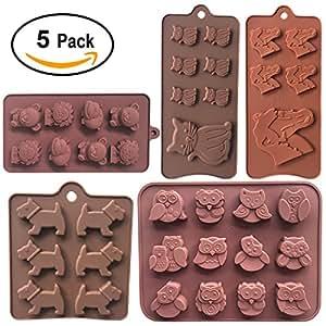 5unidades silicona Animal Chocolate Chip Cupcake Tops Candy Jelly Cake Galletas magdalenas Cookie molde cubito de hielo bandeja de making Craft Mold, silicona, Assorted, Small