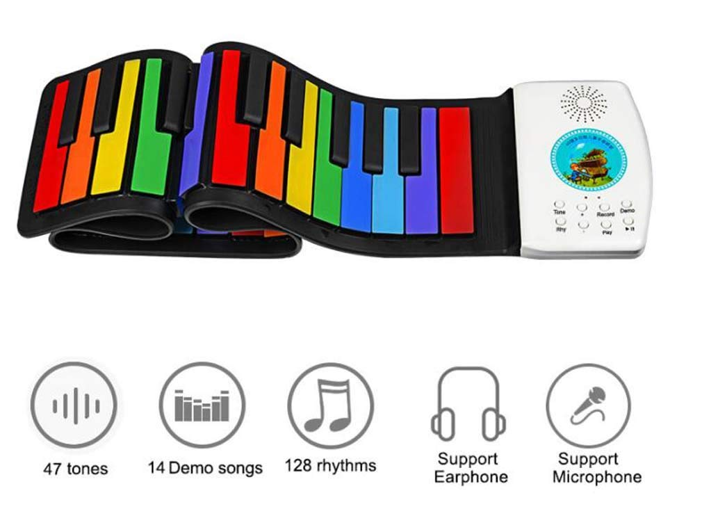 CE-LXYYD 49-Key Folding Piano, Thick Waterproof and Rechargeable Portable Color Electronic Piano, Suitable for Beginners, Best Gift for Children,Color by CE-LXYYD (Image #2)