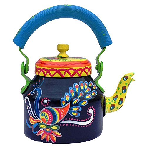 Beautiful Decorative Fancy and Designer Hand-Painted Multicolor Tea Kettle Pot