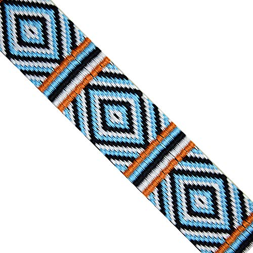 "Jacquard Woven Geometric Turquoise/Navy/Orange/White, JR 626, Width: 1-5/8"" (40mm) - 5 Yards"