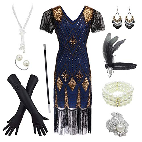 Great Gatsby Womens Costume (Women's 1920s Gatsby Inspired Sequin Beads Long Fringe Flapper Dress w/Accessories Set (X-Large,)