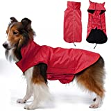 OHF Waterproof Dog Coat Jacket, Fleece Lined For Warmth, Chest Protector, Reflective Piping For night Safety, Red X-large