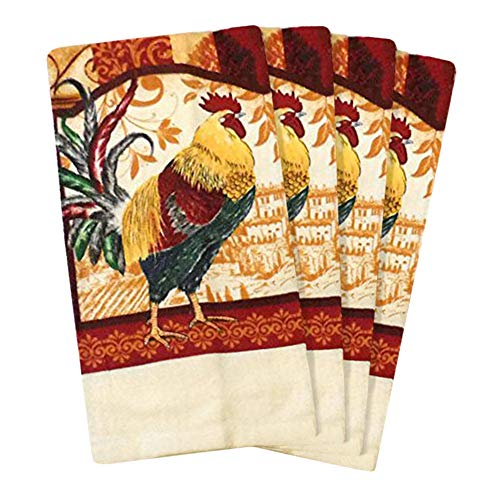 JJ Collection 4 Pack Absorbent Kitchen Dish Towels 15x25 Cotton Poly (Rooster) (Rooster Hand Towels)