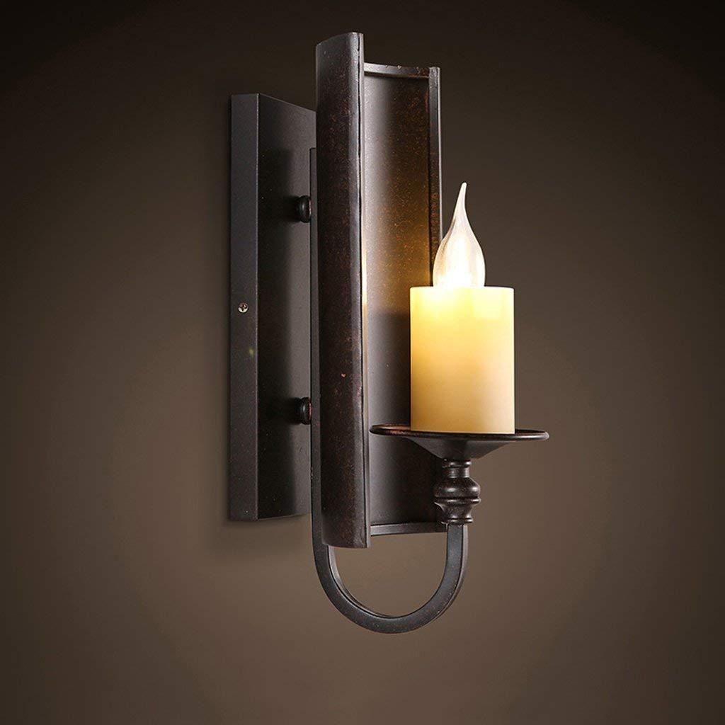 FXING Vintage American Industrial Loft-Stil Treppenhaus Flur, Kreative und Innovative Hotel Restaurant Bar Single Head Kerze Wandleuchte