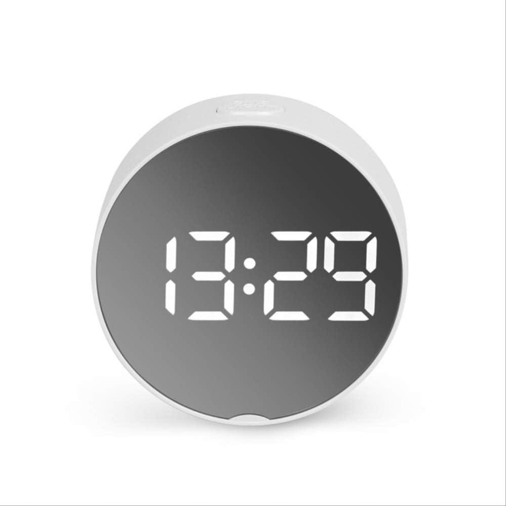 RENQINGLIN Reloj Despertador LED 2020 Reloj de Alarma con Espejo Redondo LED Reloj de Mesa Digital Luz Nocturna Snooze con Temperatura Electrónica 01