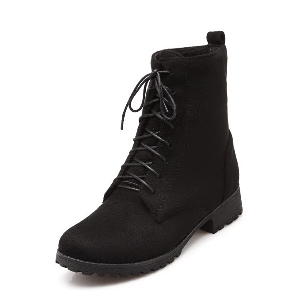 VogueZone009 Womens Imitated Suede Low-Top Solid Lace-Up Low-Heels Boots