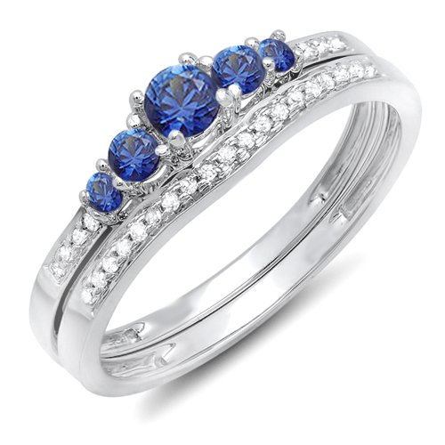14K-White-Gold-Blue-Sapphire-White-Diamond-Ladies-5-Stone-Bridal-Engagement-Ring-Matching-Band-Set