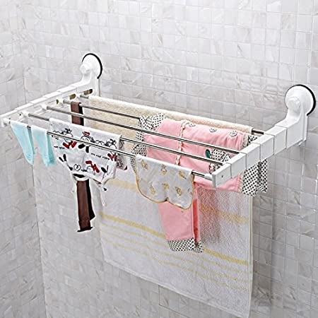 FunkyBuys® Retractable Drying Rack Rail Towel Holder (SI 087) Chrome Bar  Shelf
