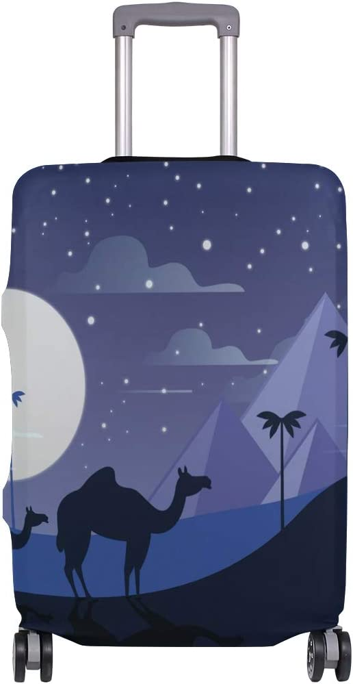 Cute Egypt Night With Caravan Pyramids Print Luggage Protector Travel Luggage Cover Trolley Case Protective Cover Fits 18-32 Inch