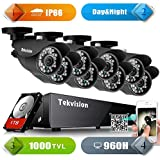 Tekvision 960H Video Security Camera System 1000TVL Weatherproof Cameras Night Vision,Motion Detection with 1TB HDD
