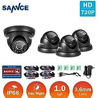 SANNCE 4 Pack 1/3 1500TVL HDTVI 720P High Resolution Security Surveillance CCTV Camera Kit HD Had IR Cut 3.6mm Lens Outdoor Dome Weatherproof Wide Angle