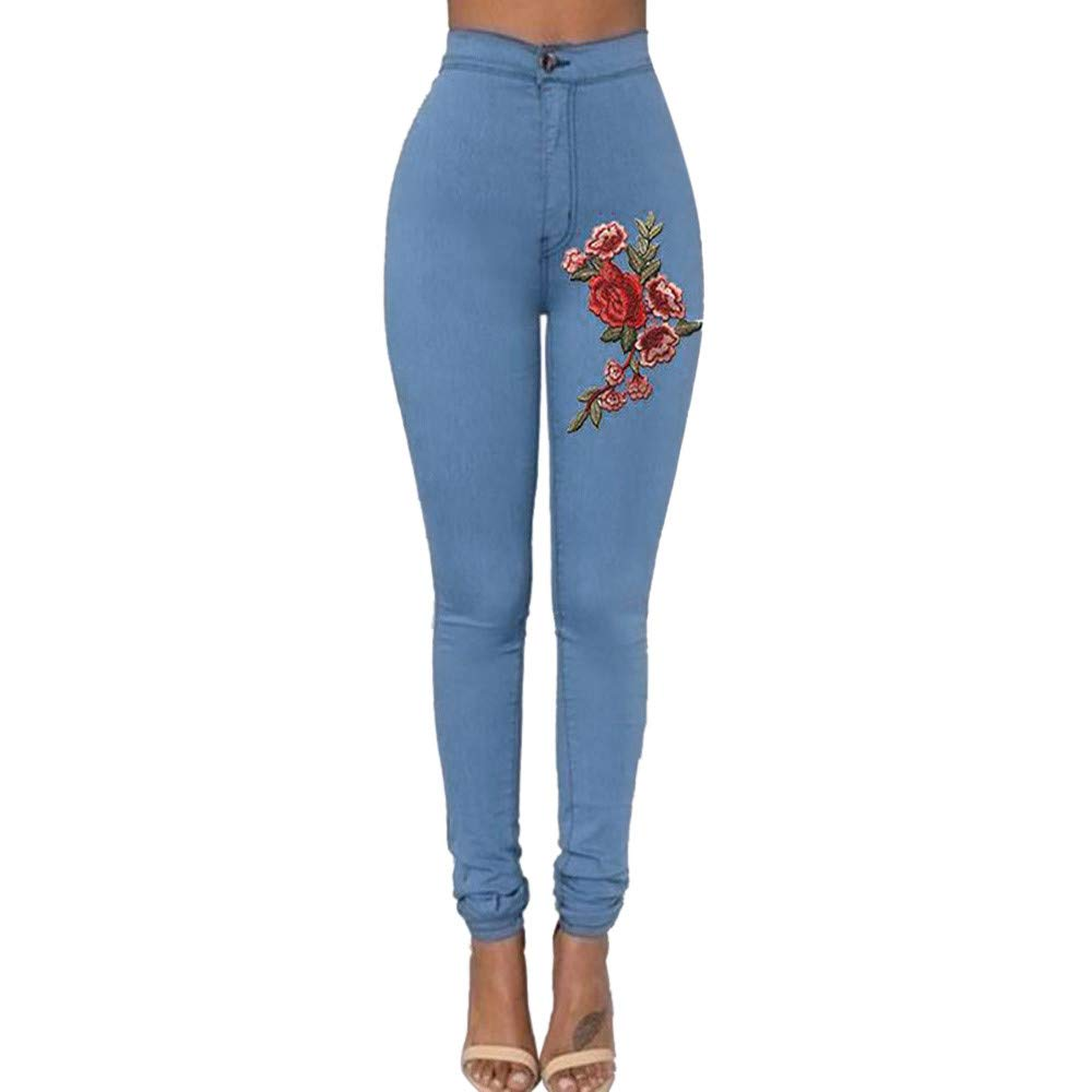 JESFFER Fashion Sexy Women Skinny Floral Applique Jeans High Waist Stretch Pencil Pants