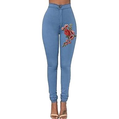 STRIR Cintura Alta Pantalones Jeans Mujer Elástico Flacos Vaqueros Leggings con Bordado de Floral Push up Mezclilla Pantalones