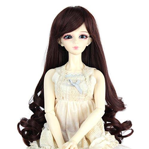Human Hair Doll Wig - Miss U Hair 9-10 Inch 1/3 BJD MSD DOD Pullip Dollfie Doll Wig Long Curly Hair Not for Human (Dark Brown)