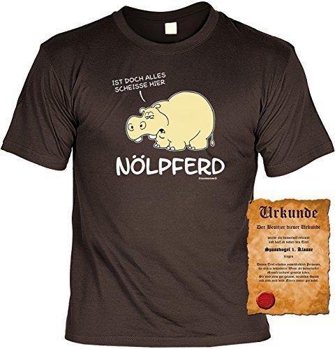 T-Shirt mit Urkunde - Nölpferd - Ist doch alles Scheiße hier - Lustiges Sprüche Shirt als Geschenk für Spaßvögel mit Humor