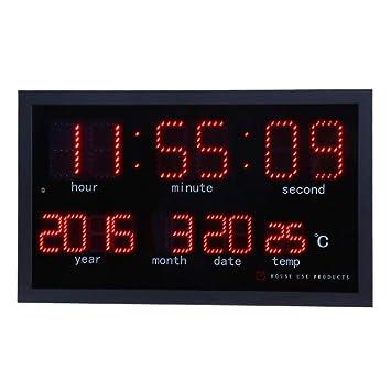 NEBLAC Reloj de Pared Colgante Decoración de Pared, Relojes de Calendario electrónicos LED Reloj de