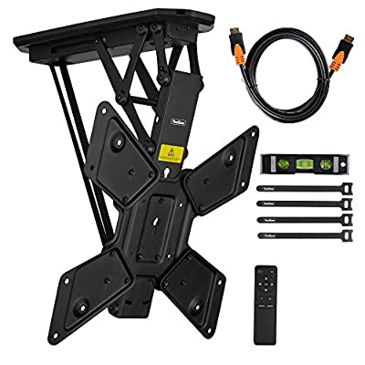 """VonHaus Electric Motorized Flip Down Pitched Roof Ceiling TV Mount Bracket for 23-55"""" Screens - Full Installation Bundle with Remote Control - Max Weight Capacity 66lbs Max VESA 600 X 400"""