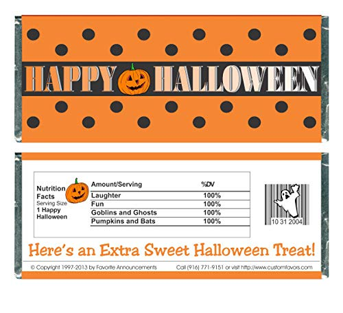 Polka Dots Halloween Holiday Candy Bar Wrappers (set of -