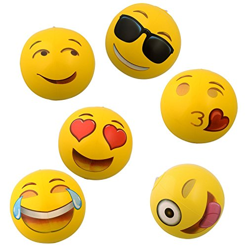 OIG Brands Emoji Beach Balls - Inflatable Toys for Toddlers 12 Balls - Beach or Pool Toys for Kids - Pool Party Supplies ()