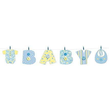Amazon 4ft Blue Stitching Baby Shower Clothesline Banner Party
