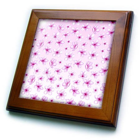 Framed Asia (3dRose Uta Naumann Pattern - Cherry Blossom Flower Sakura Asia Pattern on Pink - 8x8 Framed Tile (ft_266829_1))
