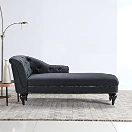 DIVANO ROMA FURNITURE Large Classic Tufted Button Linen Fabric Living Room Chaise Lounge with Nailhead Trim
