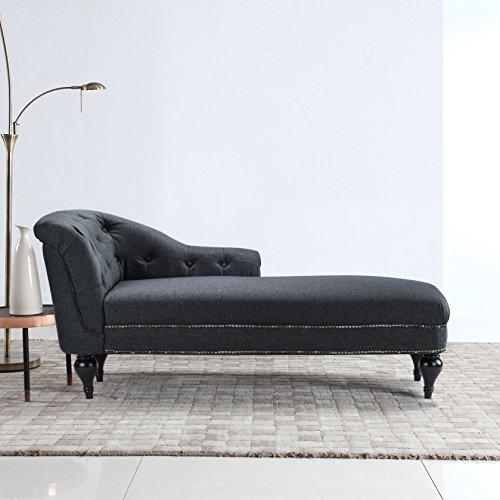 Black Chaise Lounge - Large Classic Tufted Button Linen Fabric Living Room Chaise Lounge with Nailhead Trim (Dark Grey)